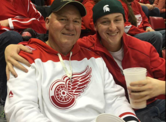 My Dad and my brother - Red Wing's Game, Joe Louis Arena - December 2015