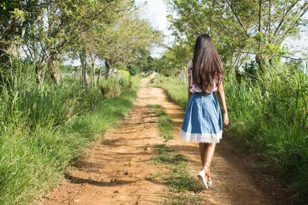 Girl on Country Road